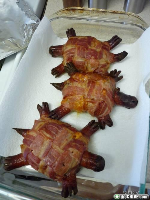 bacon wrapped hot dog turtle burger